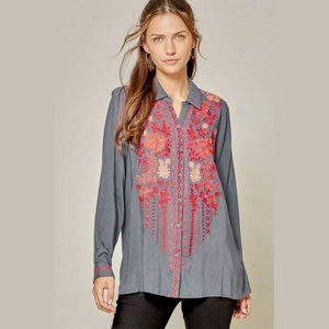 NWT Premium Embroidered Button Down Top